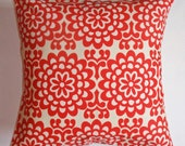 """Throw Pillow Cover, Toss Pillow, Accent Pillow, Decorative Cushion, Cherry Red Floral Pillow, Wallflower, Amy Butler Fabric, 16x16"""" Square"""