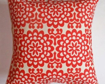 "Throw Pillow Cover, Toss Pillow, Accent Pillow, Decorative Cushion, Cherry Red Floral Pillow, Wallflower, Amy Butler Fabric, 16x16"" Square"