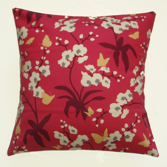 """Throw Pillow Cover, Pink Floral & Butterfly Pillow Cover, Raspberry Orchid Pillows, Decorative Cushion Cover, Joel Dewberry Fabric, 16x16"""""""