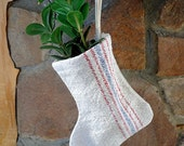 Ornament / Stocking / Vintage Grain Feed Sack Blue and Red Stripes