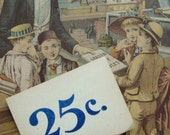 1920s Rare Antique French Mercantile Industrial 25 Cent Price Ticket