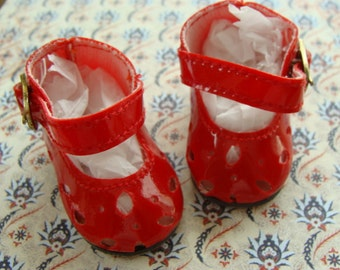 Vintage Doll Shoes Unused Beautiful Red Mary Janes  Doll Shoes