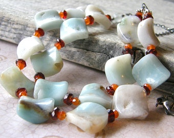 Two Strand Amazonite, Garnet and Carnelian Necklace, Multi-Strand Gemstone Bib Statement Necklace