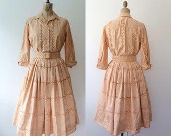 1950s dress / eyelet lace dress / Joe Frank dress
