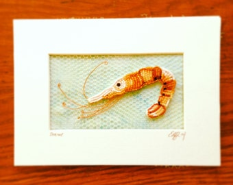 Bead Embroidered Shrimp