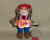 Willie Nelson Miniature Thread Artist Crochet Doll  Ready to Ship