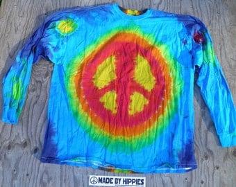 Rainbow Lightning Peace Sign Tie Dye Longsleeve T-Shirt (Gildan Size 3XL) (One of a Kind)
