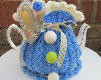 Hand Knitted Tea Cosie   ' Blue Bird '