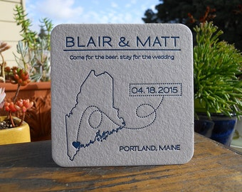 Letterpress Save the Date coasters - CUSTOMIZED