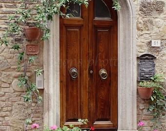 Italian Doors, European Photography, Wooden Door Photo, Tuscany Art Print,Italian Travel Photography,Doors of Italy Pots of Geranium Flowers