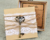 Bridesmaid Box Invitations KEY, Lace & Twine Box Will You be My Bridesmaid Invites Cards Rustic Chic Burlap Vintage Invites Cards