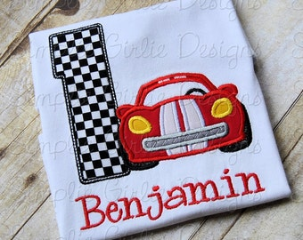 Custom race car with checkered flag birthday shirt. Personalized. Can change shirt, fabric, and/or thread colors to match your theme.