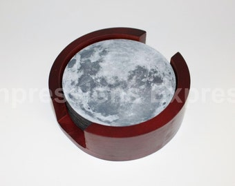 Moon Coaster Set of 5 with Wood Holder