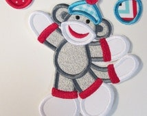 Easter Sock Monkey Boy with Easter Eggs - Iron On or Sew On Embroidered Applique