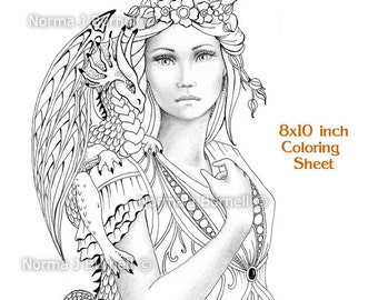 View Grayscale Coloring Pages by FairyTangleArt on Etsy