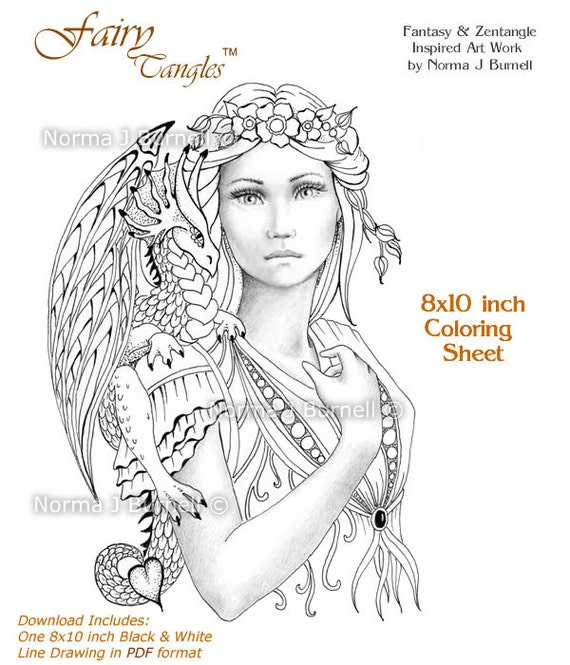 Fairy Dragon Queen Tangles Grayscale Coloring Sheets