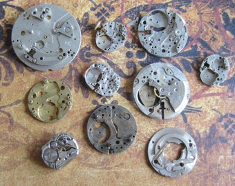 Vintage metal pocket Watch plates   - Steampunk - Scrapbooking h1