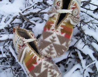 Alabaster Cream Dreams - Felted Blanket Wool / Wool Lined / Sheepskin and Leather Soles Moccasins / Slippers- Women's Sizes