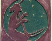 "Dryad or Nymph Fantasy Tile 6"" Square Stoneware Art Tile"