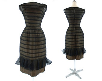 Will Steinman XS Illusion Bombshell Dress // Vintage 50s 60s black lace striped party cocktail dress // 1950s 1960s designer XXS size 0