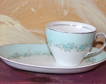 Vintage aqua tea cup/saucer,aqua tea cup,aqua saucer,Jonhsons Brothers Snowhite tea Cup and saucer,aqua maple leaf design,made in England