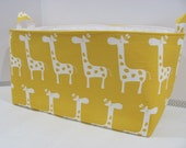 "XXL 18"" x 8"" x 10"" Fabric Organizer Basket - Storage Container - Toy Bucket - Home Decor- Nusery Room - Gift Basket -  Yellow Giraffe Canvas"