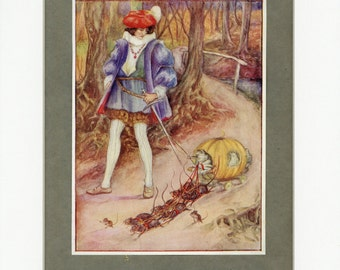 1912 Antique Print The Frog Bride from Rose Fairy Book