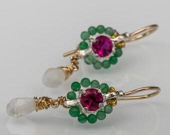 Zircon Corundum Turquoise Small Flower Earrings, Unique Earrings, Dangle Earrings, Zircon Earrings, Women's Gift