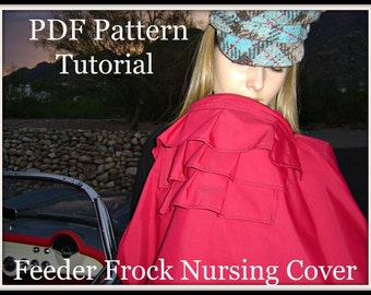 Pattern Tutorial-Nursing Cover Pattern-PDF Designer Nursing Cover-Sewing Tutorial-Signature Front Ruffle Style-Bonus Simple Mom Book