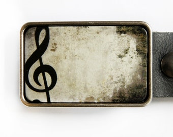 Music Note Treble Clef Belt Buckle in Grey and Black