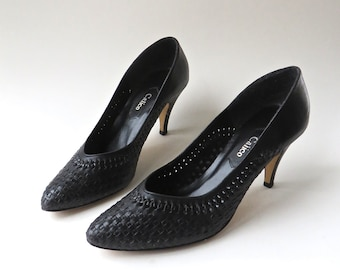 80s vintage Black Woven Leather Pumps / Made in Brazil