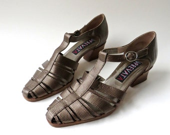 vintage Prevata Bronze Reptile Embossed Leather T-Strap Sandals