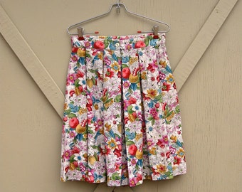90s vintage Hunt Club Romantic Floral Print High Waist Pleated Long Shorts