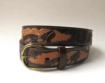 vintage Dark Brown Eagle Design Tooled Leather Belt / Made in Mexico