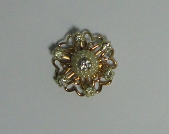 Mid century Gold tone metal with Faux Pearls and Rhinestones Flower Brooch, Pin