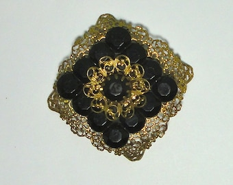 Vintage Gold tone filigree with black Lucite Brooch pin