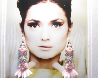 PINK and SILVER  filigree Earrings,