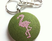 Flamingo stitched key chain, free US shipping