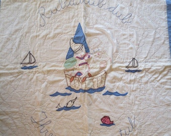 Adorable Vintage Childrens Quilt. Rub a Dub Three Men In A Tub 36 x 56""