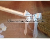 Classic Jump Broom Made in Your Custom Colors with Two Hearts Accent ..shown in ivory