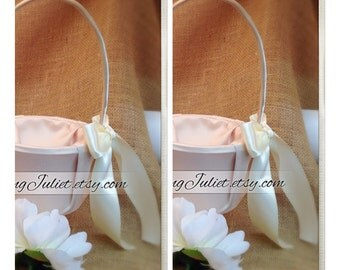 Custom Colors Satin Flower Girl Basket..SET OF 2...You Choose The Colors..Shown in champagne/ivory