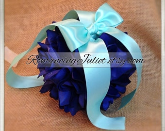 Lovely  7 Inch Silk Rose Pomander.. You Choose The Colors...shown in navy blue/aqua