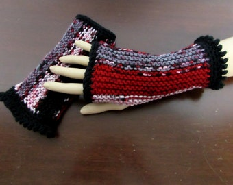 Fingerless Gloves in Red, White, Black and Gray Stripe - Ready To Ship Stretch Arm Warmers Texting Gloves Woman's Gloves