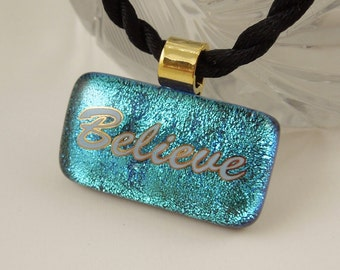 Scripture Jewelry - Faith Hope Love - Scripture Pendant - Bible Quote Jewelry - Corinthians 13:13 Bible Verse - Dichroic Fused Glass  X2189