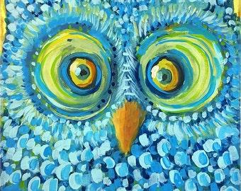 Blue OWL - acrylic painting original