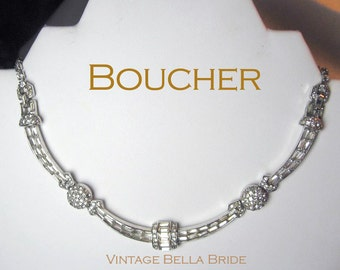 Vintage Designer Boucher Rhinestone Necklace Collar