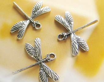 8 pcs - 27mm Antique silver dragonfly charms (CM-020)