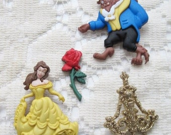 Beauty and the Beast Disney Buttons and Embellishment Set of 4