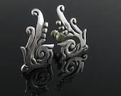 Earrings, Maricela, Sterling Silver, Tribal Spiral, Tasco, Curls Taxco Mexico Silver, Screw Back Earrings