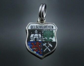 Vintage RUE 800 Silver Gelsenkirchen Enamel Shield Charm